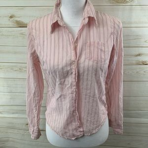 Aeropostale Pink Striped Button Down Shirt